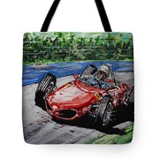 Phil Hill At Nurburgring. Tote Bag