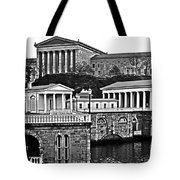 Philadelphia Art Museum At The Water Works In Black And White Tote Bag