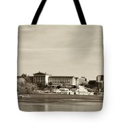 Philadelphia Art Museum With Cityscape In Sepia Tote Bag