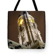 Philadelphia City Hall Clock Tower At Night Tote Bag by Gary Whitton