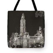 Philadelphia City Hall Mono Tote Bag