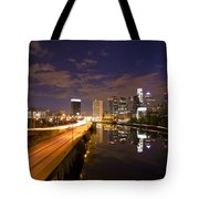 Philadelphia Cityscape From South Street At Night Tote Bag