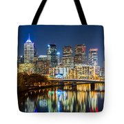 Philadelphia Cityscape Panorama By Night Tote Bag