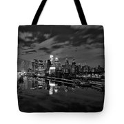 Philadelphia From South Street At Night In Black And White Tote Bag