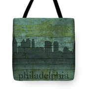 Philadelphia Pennsylvania Skyline Art On Distressed Wood Boards Tote Bag