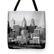 Philadelphia Skyline Black And White Bw Pano Tote Bag