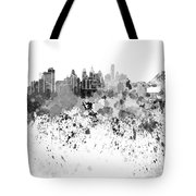 Philadelphia Skyline In Black Watercolor On White Background Tote Bag