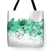 Philadelphia Skyline In Green Watercolor On White Background Tote Bag