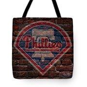 Phillies Baseball Graffiti On Brick  Tote Bag by Movie Poster Prints