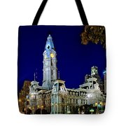 Philly City Hall At Night Tote Bag