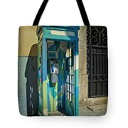 Phone Booth In Blues - Oporto Tote Bag