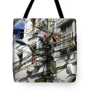 Phone Lines And Laundry Tote Bag