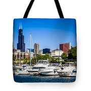 Photo Of Chicago Skyline With Burnham Harbor Tote Bag