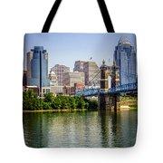 Photo Of Cincinnati Skyline And Roebling Bridge Tote Bag