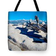 Photographer On Top Of Sentinel Dome In Yosemite Np-ca  Tote Bag