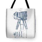 Photographic Camera Patent Drawing From 1885- Blue Ink Tote Bag