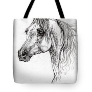 Piaff Polish Arabian Horse Drawing 1 Tote Bag