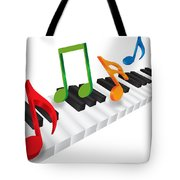 Piano Keyboard And 3d Music Notes Illustration Tote Bag
