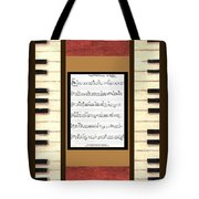 piano keys sheet music to Keep Of The Promise by Kristie Hubler Tote Bag