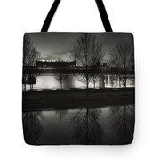 Piano Pavilion Bw Reflections Tote Bag