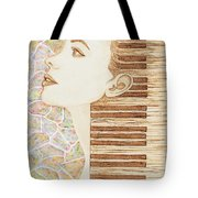Piano Spirit Original Coffee And Watercolors Series Tote Bag