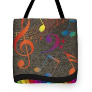 Piano Wavy Border With Colorful Keys And Music Note Tote Bag