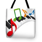 Piano Wavy Keyboard And Music Notes 3d Illustration Tote Bag