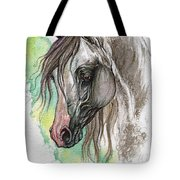Piber Polish Arabian Horse Watercolor Painting Tote Bag