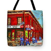 Piche's Grocery Store Bridge Street And Forfar Goosevillage Montreal Memories By Carole Spandau Tote Bag