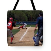 Pick Off Attempt At 1st Base Tote Bag