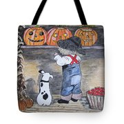 Picking Out The Halloween Pumpkin Tote Bag