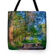 Picnic By The Methow River Tote Bag