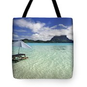 Picnic Table And Umbrella In Clear Lagoon Tote Bag