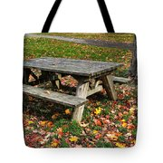 Picnic Table In Autumn Tote Bag