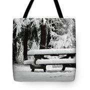 Picnic Table In The Snow Tote Bag