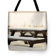 Picnic Table In Winter Tote Bag