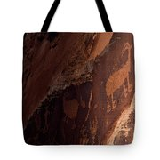 Picture Of An Animal Etched Into Red Tote Bag