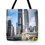 Picture Of Chicago Buildings With Willis-sears Tower Tote Bag