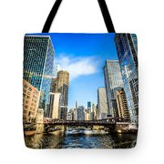 Picture Of Chicago River Skyline At Clark Street Bridge Tote Bag