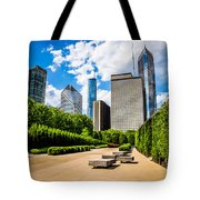 Picture Of Chicago Skyline With Millennium Park Trees Tote Bag
