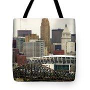 Picture Of Cincinnati Skyline Office Buildings  Tote Bag by Paul Velgos