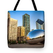 Picture Of Cloud Gate Bean And Chicago Skyline Tote Bag by Paul Velgos