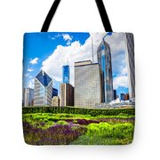 Picture Of Lurie Garden Flowers With Chicago Skyline Tote Bag