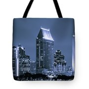 Picture Of San Diego Night Skyline Tote Bag by Paul Velgos