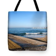Pier And Beach By The Atlantic Ocean In Cascais Tote Bag