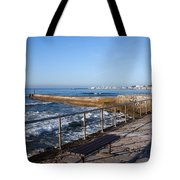 Pier And Promenade By The Atlantic Ocean In Cascais Tote Bag