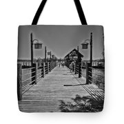 Pier At Fort Wilderness In Black And White Walt Disney World Tote Bag