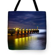 Pier At Night Tote Bag by Carlos Caetano