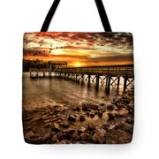 Pier At Smith Mountain Lake Tote Bag