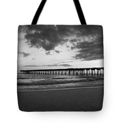 Pier In Black And White Tote Bag